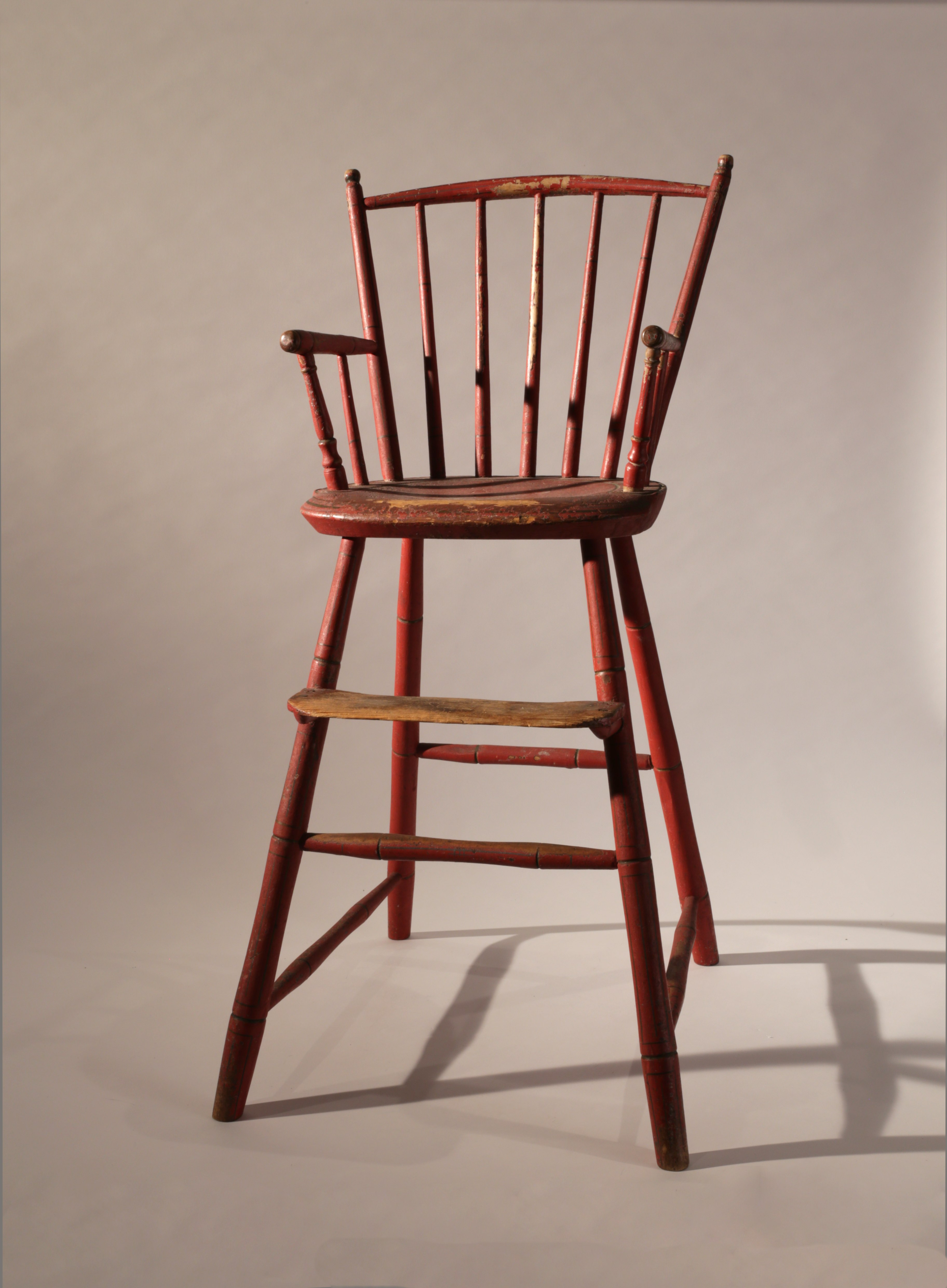 child s windsor high chair with red paint liverant antiques