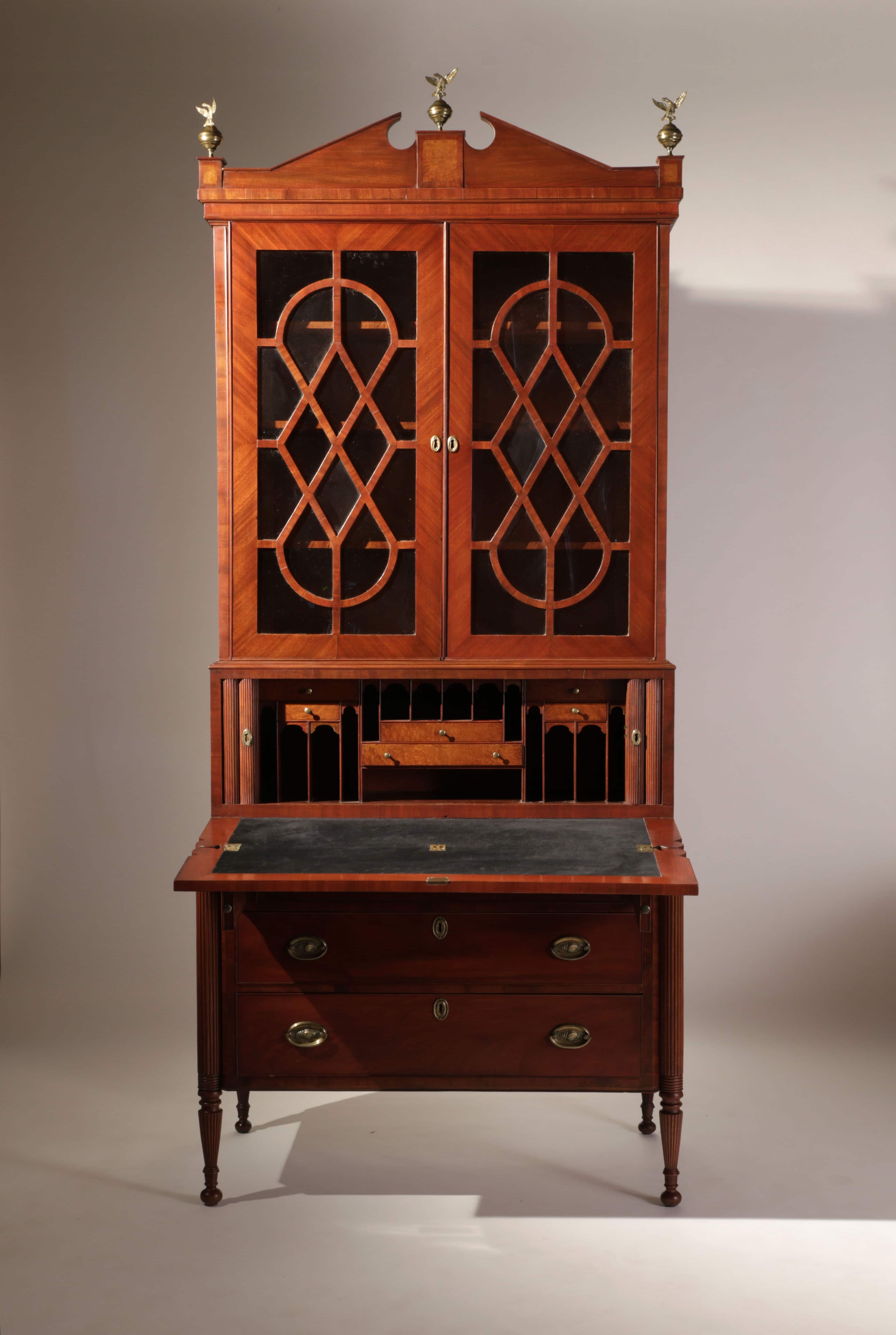 Federal Mahogany Secretary With Tambour Doors Liverant