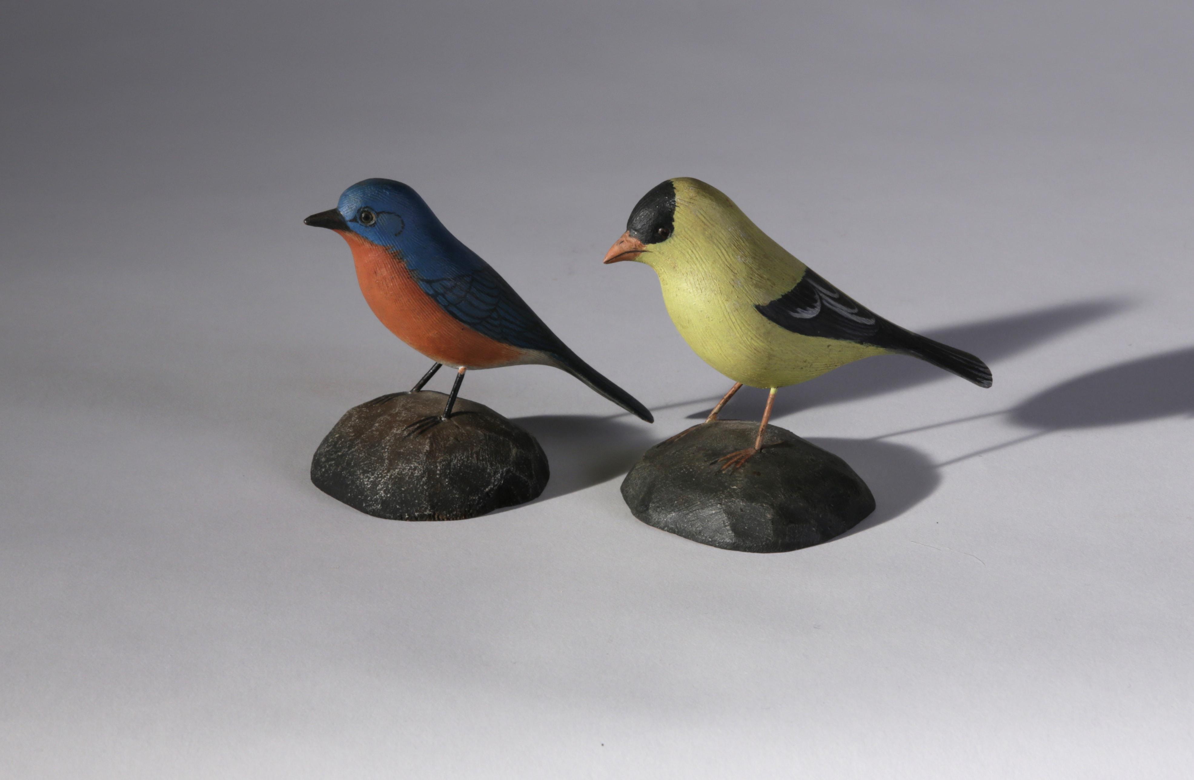 Miniature Bluebird And Gold Finch By Jess Blackstone